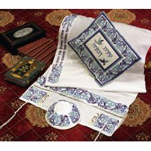 Soft Cotton Luxurious Tallit Set - Blue Martriarchs & Deborah Song