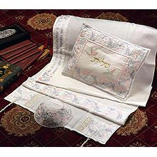 Soft Cotton Luxurious Tallit Set - 4 Matriarchs and Dove's