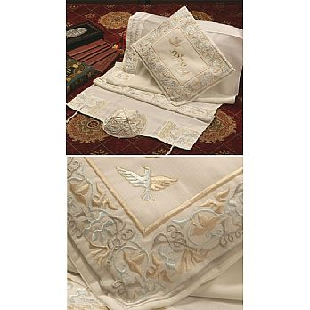 Soft Cotton Luxurious Tallit Set - Martriarchs Gold & Mint