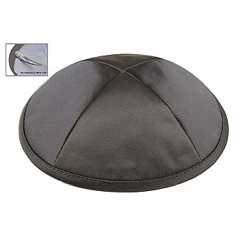 Dark Grey Satin Deluxe Kipah with Kippah Clip
