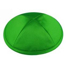 Deluxe Imprinted Satin Kippot - Emerald Green