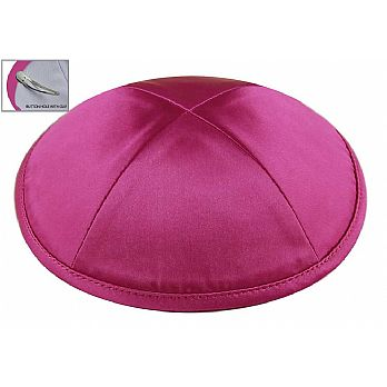 Deluxe Imprinted Satin Kippot - Hot Pink/Fuchsia