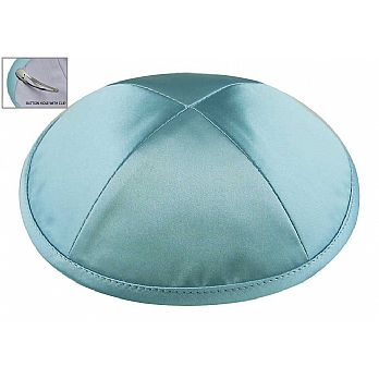 Deluxe Imprinted Satin Kippot - Light Blue
