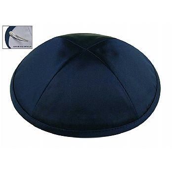 Deluxe Imprinted Satin Kippot - Navy / Dark Blue
