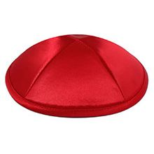 Deluxe Imprinted Satin Kippot - Red