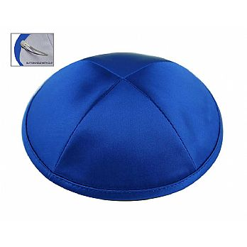 Deluxe Imprinted Satin Kippot - Royal Blue