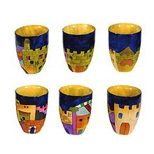 Set of 6 Wooden L'chaim Cups - Jerusalem