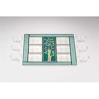 Art Glass & Metal Seder Plate - Tree of Life