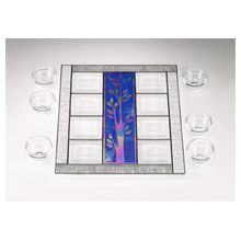 Art Glass & Metal Seder Plate - Tree of Life II