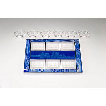 Art Glass & Metal Seder Plate - Jerusalem Waves