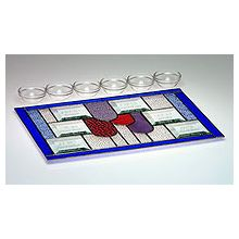 Art Glass & Metal Seder Plate - 4 Cups of Wine