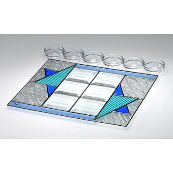 Art Glass & Metal Seder Plate - Star of David