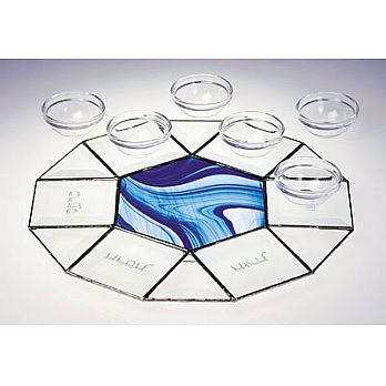Art Glass & Metal Seder Plate - Octagonal