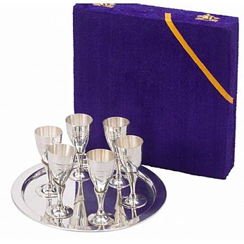 7 Piece Silverplated Cordial Set - Velvet Box