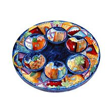 Seder Plate Carved Natural Wood Jerusalem Design by Emanuel