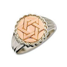 Sterling Silver Heavy Ring with 14K Gold Star Face