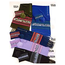 Lustrous Light Silk Tallit Sets - Silk Scenes of Jerusalem