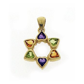 14K Gold Star of David Pendant - Heart Stones