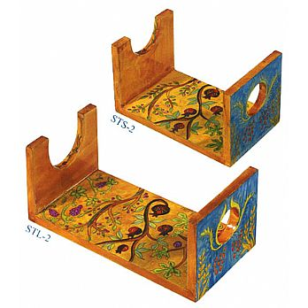 Wooden Hand Painted Shofar Stand - 7 Species