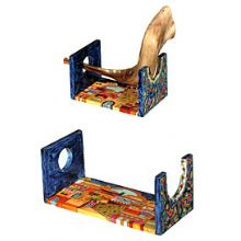 Wooden Hand Painted Shofar Stand