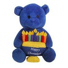 Plush Hanukkah Bear Holding a Menorah - Blue