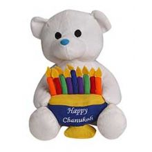 Plush Hanukkah Bear Holding a Menorah - White
