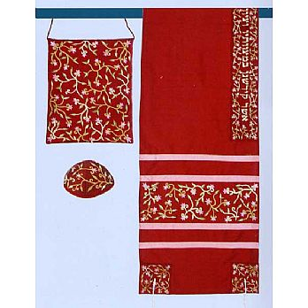 Embroidered Raw Silk Tallit Set - Marron