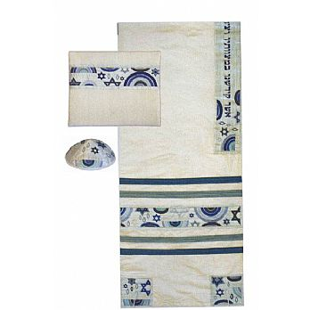 Embroidered  Raw SilkTallit Set - Blues