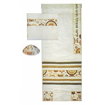 Embroidered  Raw SilkTallit Set - Gold