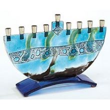 Fused Glass Art Menorah by Tamara - Hinder Sea