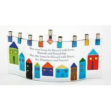 Fused Glass Menorah  - Jerusalem with Home Blessing