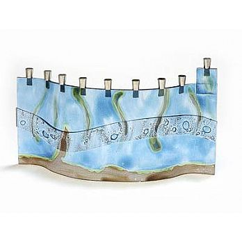 Fused Glass Menorah - Mediterranean