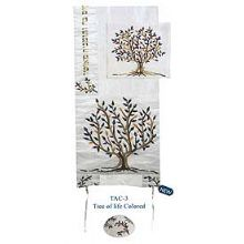 Raw Silk Embroidered Tallit Set - Colored Tree of Life