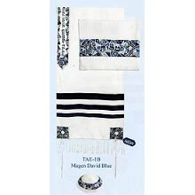 Cotton Embroidered Tallit Set - Blue Stars of David