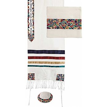Raw Silk 3 Piece Tallit Set by Emanuel - Mosaic Stars Multi