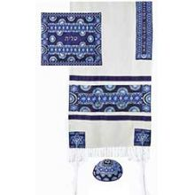Raw Silk 3 Piece Tallit Set by Emanuel - Blue Stars