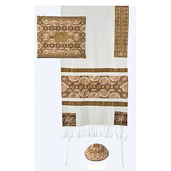 Raw Silk 3 Piece Tallit Set by Emanuel - Gold Stars