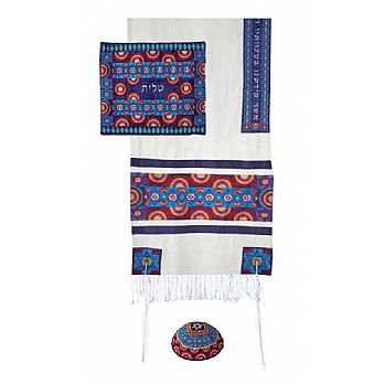 Raw Silk 3 Piece Tallit Set by Emanuel - Multi Color