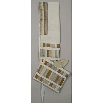 Elegant Raw SilkTallit Set - Multi Gold Stripes