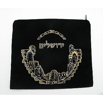 Velvet Tefilin Bag - Jerusalem