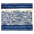 Emanuel Full Embroidered Jerusalem Tallit Bag-- Blue