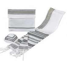 Fine Wool Tallit Set - B'nai Ohr Grey/Maroon/Gold