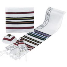 ''Bnei Ohr'' Wool Tallit Set - Multi Colors