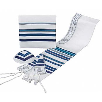 Bnei Ohr Tallit Set with Multi Blue Shades