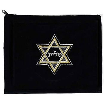 Luxurious Embroidered Velvet Tallit Bag - Star