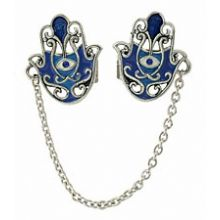 Hand Crafted Hamsa Tallit Clips - Tonal Blue / Silver