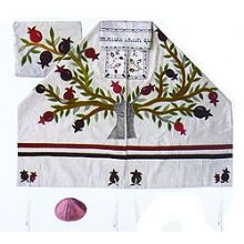 Raw silk Appliqu�d Tallit Set - Tree of Life on White