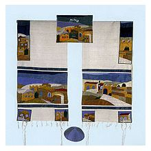 Emanuel Raw Silk Applique'd Tallit Set - Beauty Jerusalem
