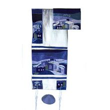 Raw silk Applique'd Tallit Set - Blue Jerusalem