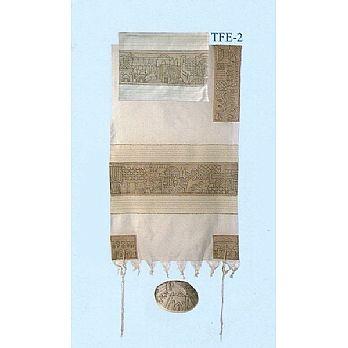 Emanuel All Embroidered Tallit Set - Jerusalem in Silver